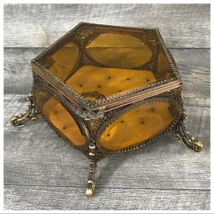 Vintage Amber Glass Gilt Jewel Box Filigree Casket